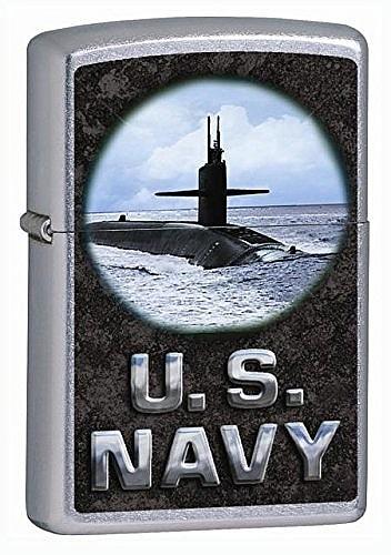 """Зажигалка Zippo (Зиппо) бензиновая с надписью """"U.S. Navy"""" и подводной лодкой (пустая, не заправленная)"""