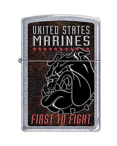 """Зажигалка Zippo (Зиппо) бензиновая с изображением бульдога Корпуса Морской Пехоты США и надписью """"First To Fight"""""""