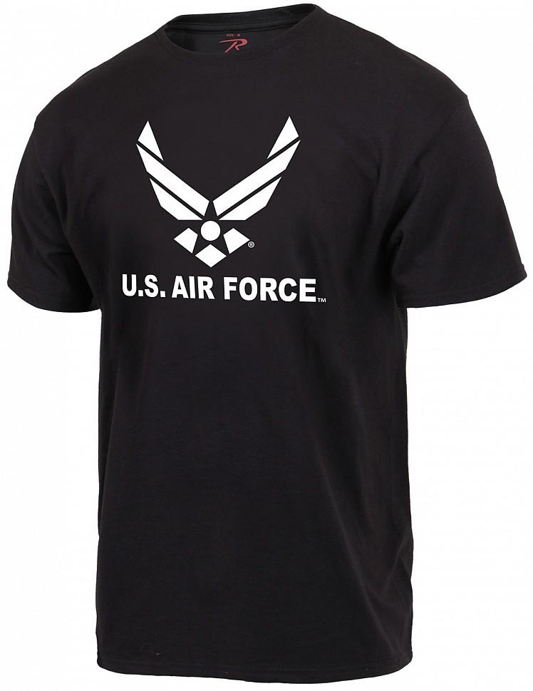 Тематическая милитари футболка с принтом - белая эмблема Военно-Воздушных Сил США (звезда с крыльями) на передней стороне футболки. Продукт лицензирован Военно-Воздушными Силами США.