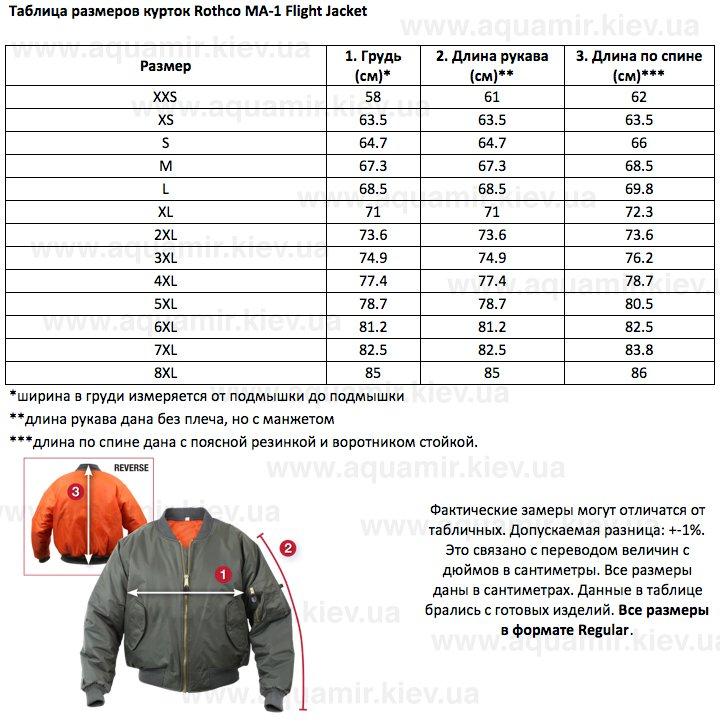 Таблица размеров курток Rothco MA-1 Flight Jacket