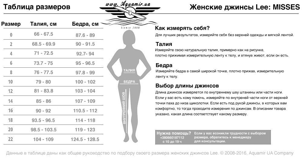Таблица размеров женские облегающих джинсов Lee Modern Series Dream Jean - Faith Skinny
