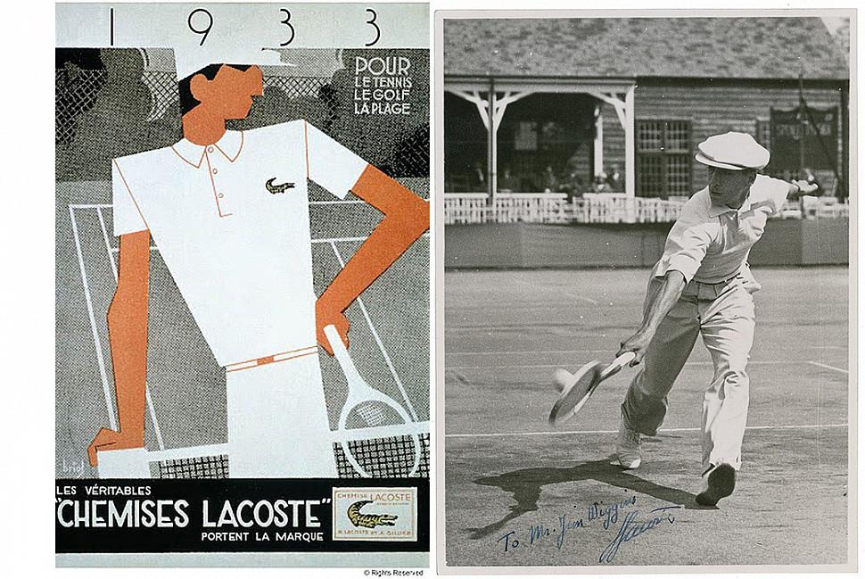 Винтажная реклама рубашки поло Lacoste (слева) c Pinterest, а Рене Лакост, играющая в теннис (справа) c iCollector