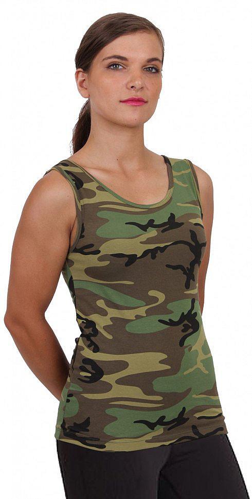 Майка женская камуфлированная Rothco Women Stretch Tank Top Woodland Camo 44590