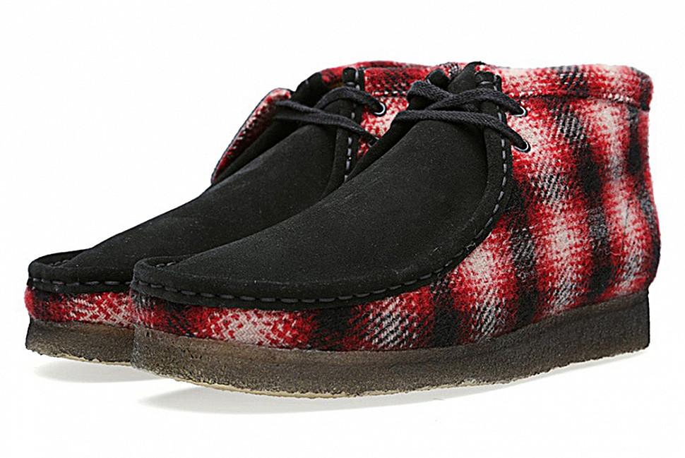 Кларкс х Woolrich Woolen Mills Wallabee Boot. Изображение через Hypebeast.
