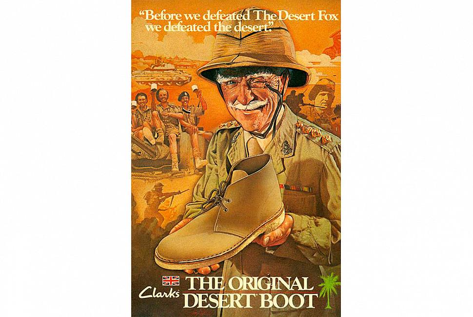 Винтажная реклама пустынных ботинок от Clarks. Изображение с Alfred Gillett Trust.