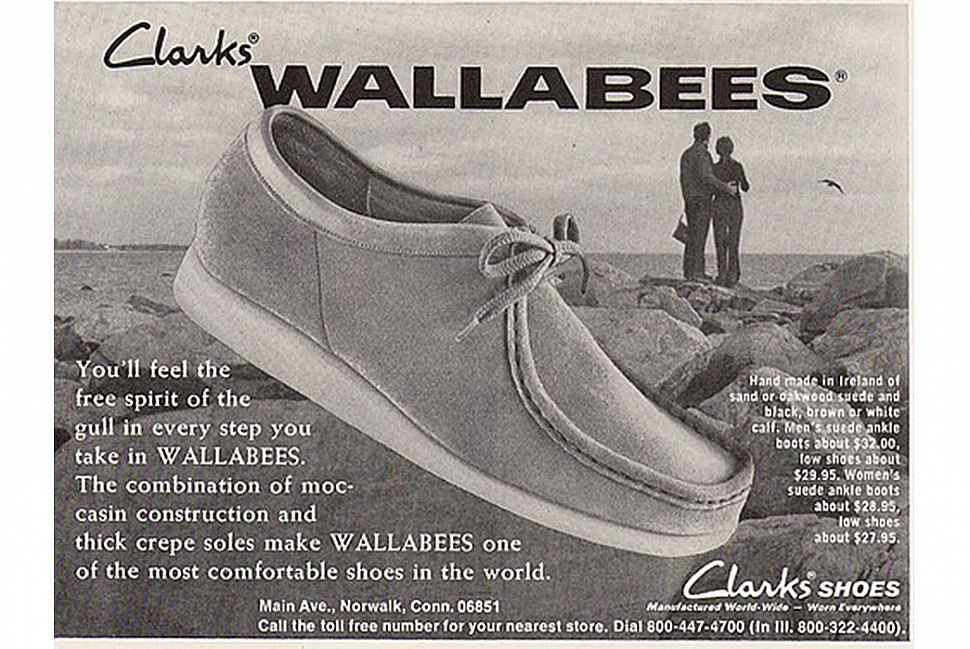 Винтажная реклама мокасином Wallabee от Clarks. Изображение с Well Dressed Dad.