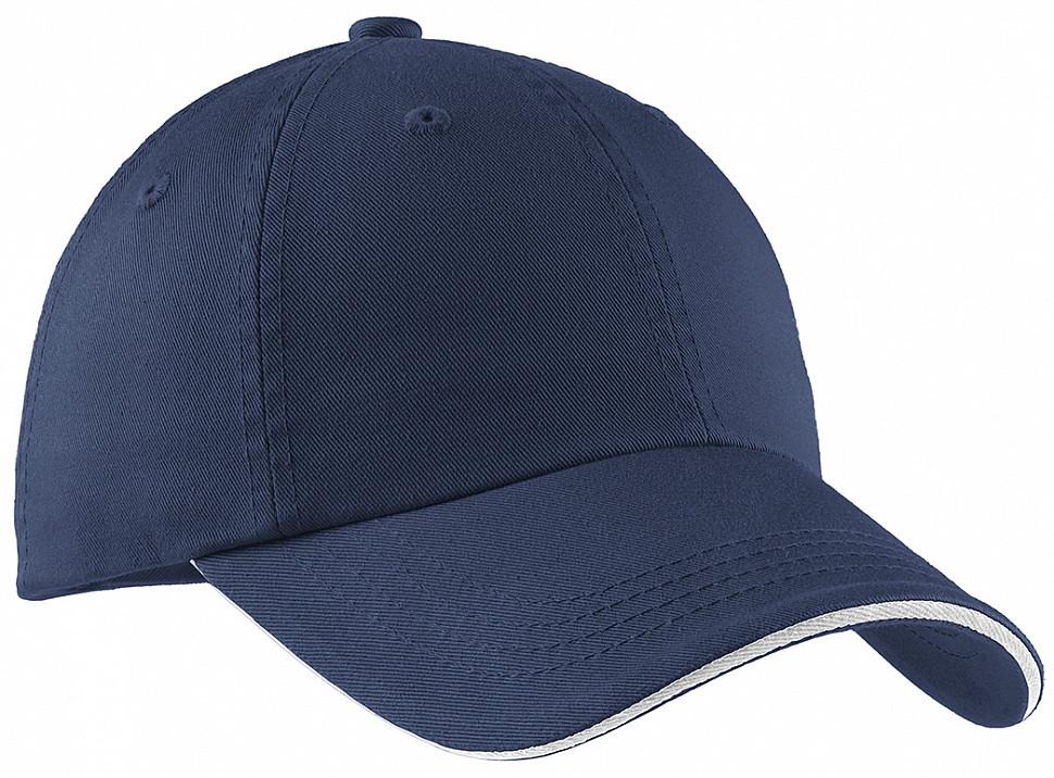 Бейсболка хлопковая в темно-синем цвете Port Authority Sandwich Bill Cap Classic Navy/ White