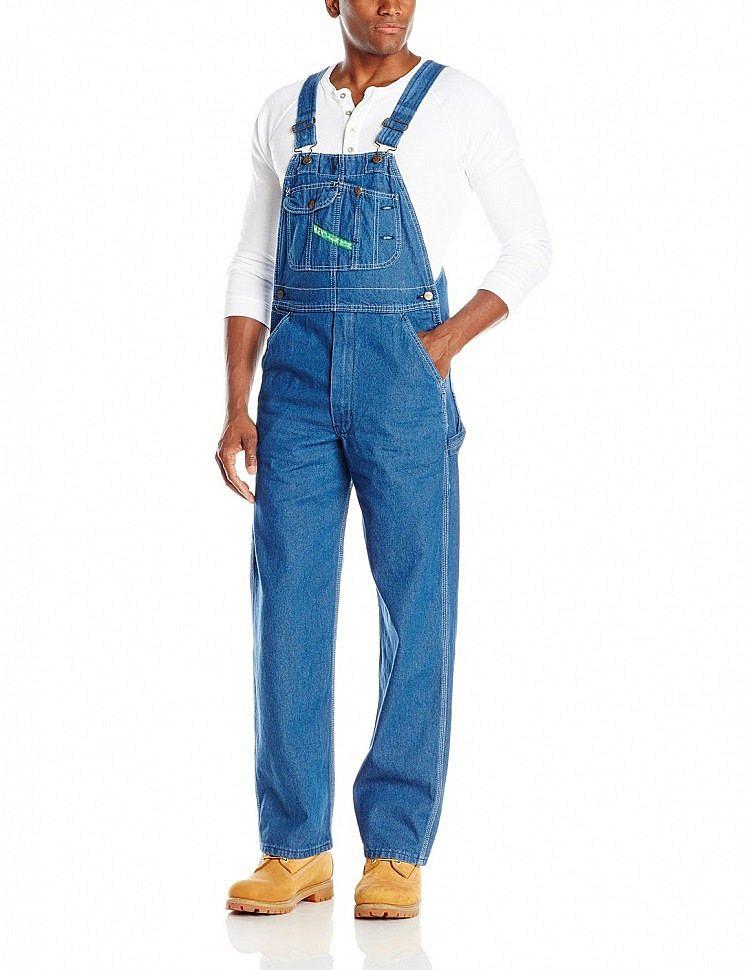 Мужской голубой джинсовый комбинезон Key Apparel Men's Bib Overalls Stonewashed