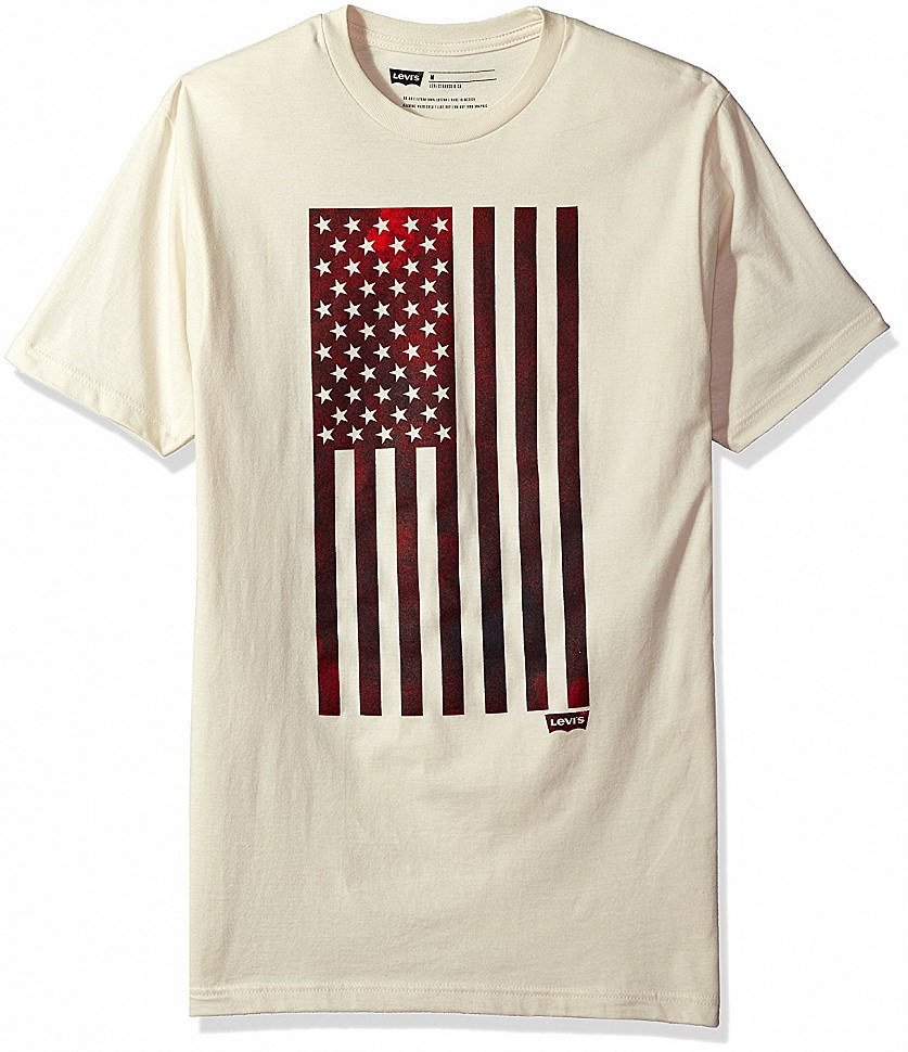 Levi's Men's Woosah T-Shirt with American Flag Cream