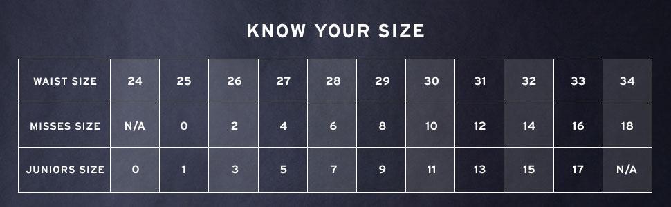 Таблица определения размера женских джинсов Левис