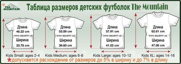 Таблица размеров детских американских футболок The Mountain