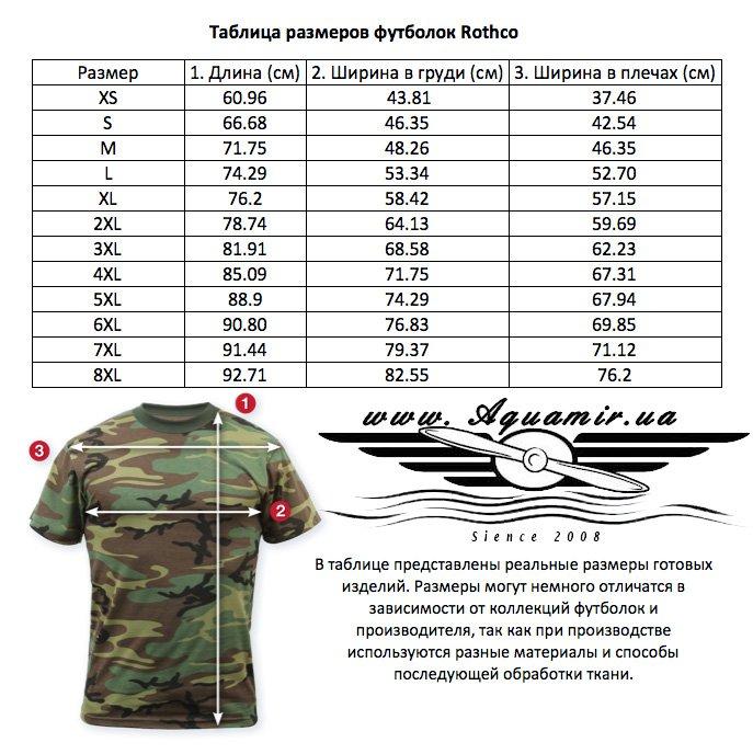 Таблица размеров винтажных футболок Rothco c коротким рукавом