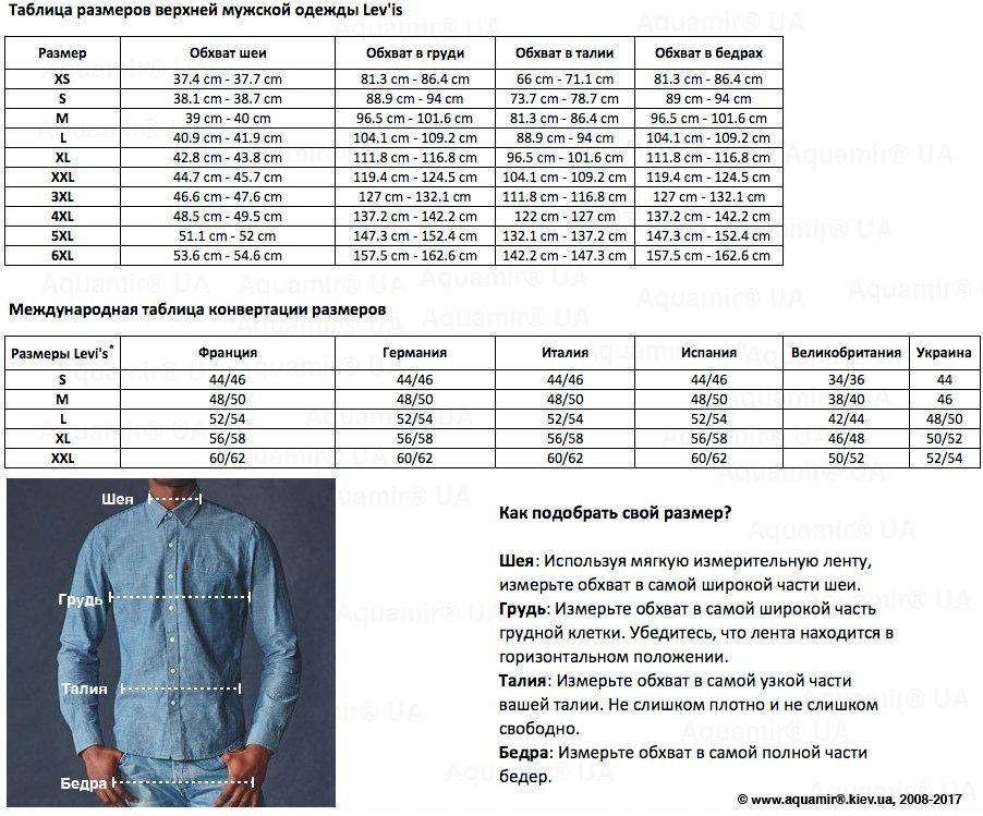 Таблица размеров верхней мужской одежды Lev'is - www.aquamir.kiev.ua
