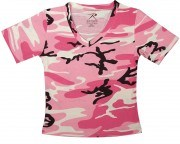 Rothco Womens Short Sleeve Camo V-Neck T-Shirt Pink Camo - 8756