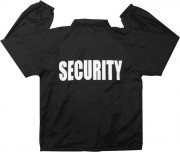 "Rothco Lined Coaches Jacket Black w/ ""Security"" Print 7648"