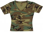Rothco Womens Short Sleeve Camo V-Neck T-Shirt Woodland Camo - 8066