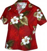 Pacific Legend Tropical Monstera Ladies Hawaiian Shirts - 348-2798 Red