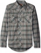Wrangler® Retro® Long Sleeve Spread Collar Plaid Shirt - Khaki/black