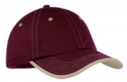 Port Authority Vintage Washed Contrast Stitch Cap Maroon/ Stone