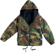 Rothco Reversible Lined Jacket With Hood Woodland Camo - 8463