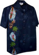 Pacific Legend Beach Santa Christmas Mens Hawaiian Shirts - 444-3787-Navy