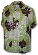 Paradise Motion Men's Rayon Hawaiian Shirts 470-109 Sage