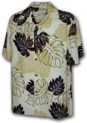 Paradise Motion Men's Rayon Hawaiian Shirts 470-109 Cream