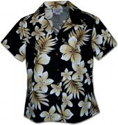 Pacific Legend Native Hibiscus Hawaiian Shirts - 348-3559 Black