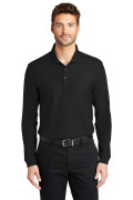 Port Authority Long Sleeve Core Classic Pique Polo Deep Black K100LS
