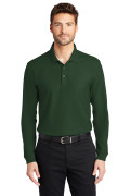 Port Authority Long Sleeve Core Classic Pique Polo Deep Forest Green K100LS