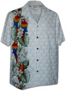 Pacific Legend Men's Single Panel Hawaiian Shirts - 444-3830 White