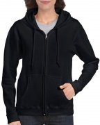 Gildan Women's Heavy Blend Full-Zip Hooded Sweatshirt Black