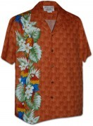 Pacific Legend Men's Single Panel Hawaiian Shirts - 444-3830 Orange