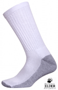 Elder Hosiery Crew Socks w/ Cushion Sole White - 6539
