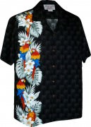 Pacific Legend Men's Single Panel Hawaiian Shirts 444-3830 Black