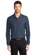 Port Authority Long Sleeve Core Classic Pique Polo River Blue Navy K100LS