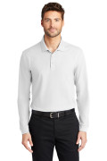 Port Authority Long Sleeve Core Classic Pique Polo White K100LS