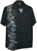 Pacific Legend Men's Single Panel Hawaiian Shirts - 444-3828 Charcoal