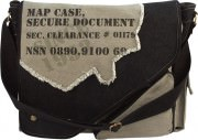 Rothco Vintage Canvas 2-Tone Imprinted Map Bag Black Grey 9248