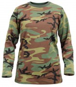 Rothco Womens Long Sleeve Camo T-Shirt Woodland Camo 3678
