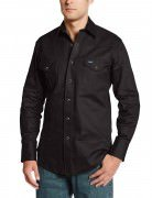 Wrangler Men's Authentic Cowboy Cut Work Western Long-Sleeve Shirt # Black