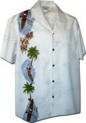 Pacific Legend Men's Single Panel Hawaiian Shirts - 444-3787 White