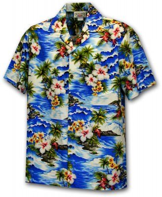 Men's Hawaiian Shirts Allover Prints - 410-3238 Blue, фото