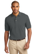 Port Authority Men's Pique Knit Polo Steel Grey