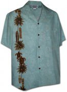 Pacific Legend Men's Single Panel Hawaiian Shirts - 444-3757 Sky