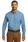 Port Authority Long Sleeve Carefree Poplin Shirt Carolina Blue W100