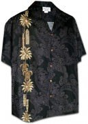 Pacific Legend Men's Single Panel Hawaiian Shirts - 444-3757 Black