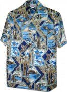 Men's Hawaiian Shirts Allover Prints - 410-3888 Navy