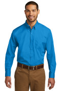 Port Authority Long Sleeve Carefree Poplin Shirt Coastal Blue W100