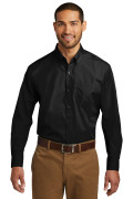 Port Authority Long Sleeve Carefree Poplin Shirt Deep Black W100